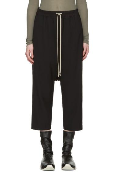 Rick Owens - Black Drawstring Cropped Lounge Pants