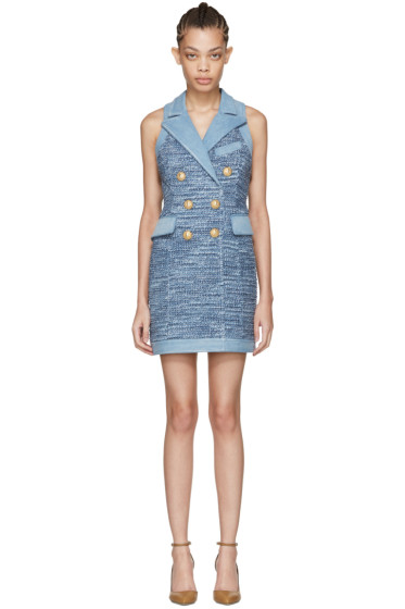Balmain - Blue Tweed & Denim Dress