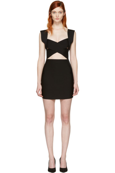 Balmain - Black Criss Cross Knit Dress
