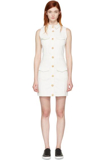 Balmain - White Denim Four Pockets Dress