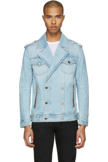 Balmain - Blue Double-Breasted Denim Jacket