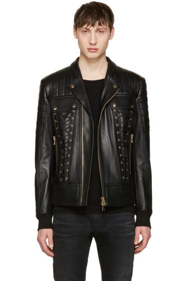 Balmain - Black Leather Lace-Up Biker Jacket