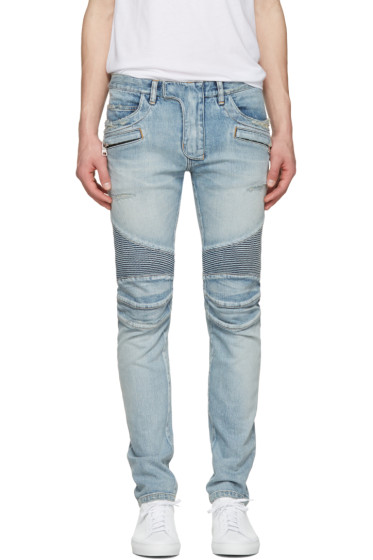 Balmain - Blue Distressed Biker Rib Jeans