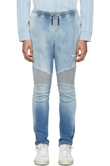 Balmain - Blue Denim Biker Lounge Pants