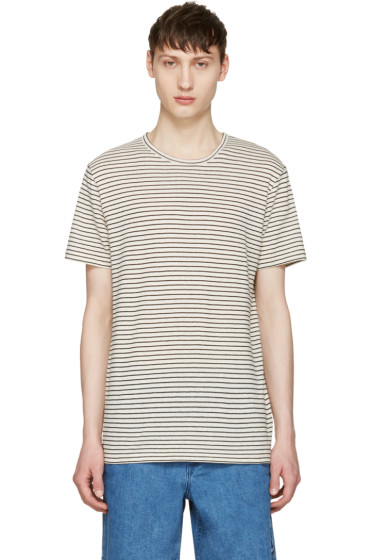 A.P.C. - Ecru Striped Paul T-Shirt