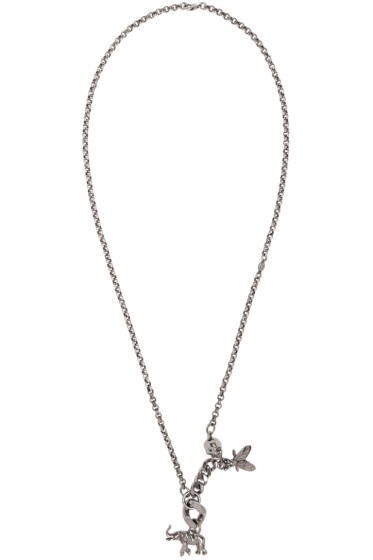 Alexander McQueen - Silver Elephant & Fly Necklace