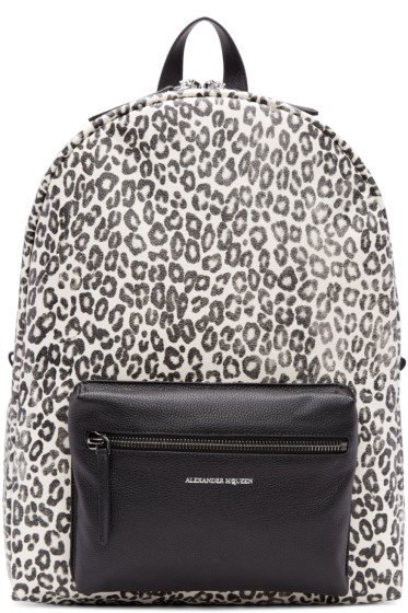 Alexander McQueen - Ivory & Black Leopard Backpack