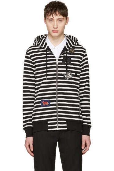 Alexander McQueen - Black & White Striped Badges Hoodie