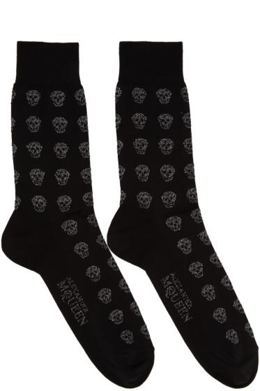 Alexander McQueen - Black Metallic Skull Socks