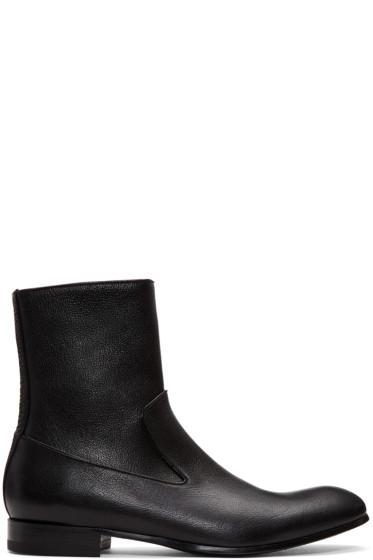 Alexander McQueen - Black Leather Zip-Up Boots