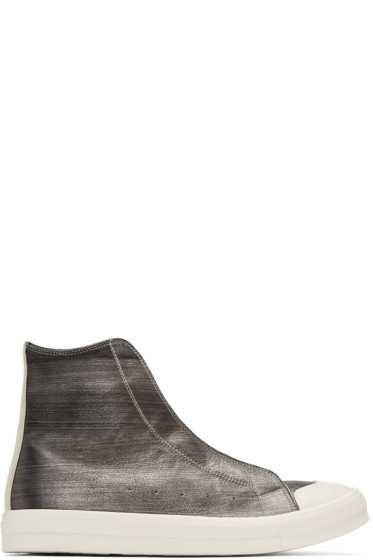Alexander McQueen - Silver Leather High-Top Sneakers
