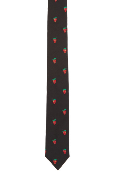 Paul Smith - Black Strawberry Skull Tie