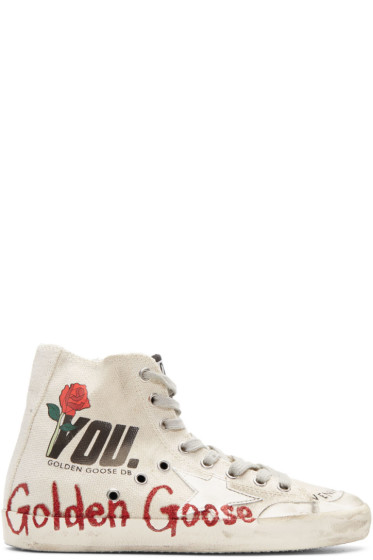 Golden Goose - Ivory Glitter Francy High-Top Sneakers
