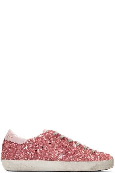 Golden Goose - Pink Glitter Jelly Superstar Sneakers