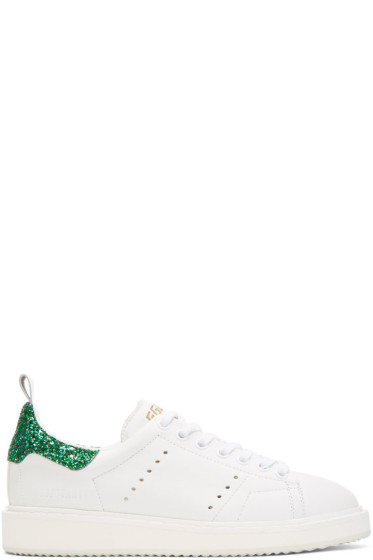 Golden Goose - White Glitter Starter Sneakers