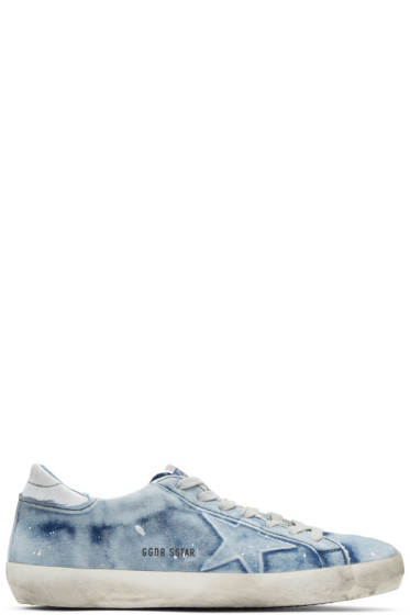 Golden Goose - Blue Bleached Denim Superstar Sneakers