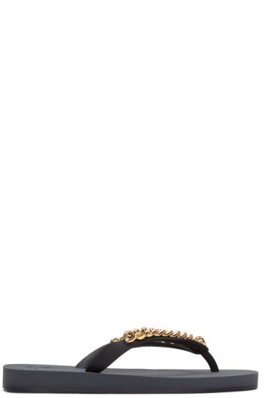 Giuseppe Zanotti - Black Chain Hollywood Sandals