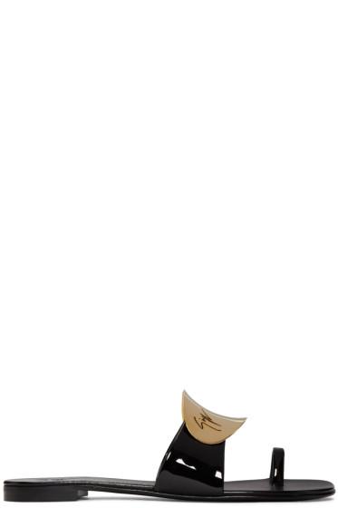 Giuseppe Zanotti - Black Patent Mirror Nuvorock Sandals