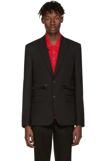 Givenchy - Black Waist Zipper Blazer