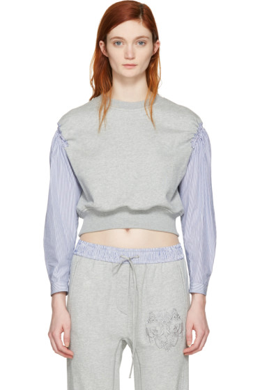 3.1 Phillip Lim - Grey Poplin Sleeves Pullover