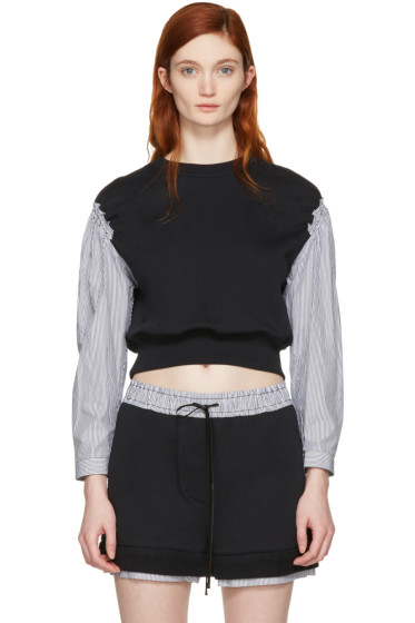 3.1 Phillip Lim - Black Poplin Sleeves Pullover