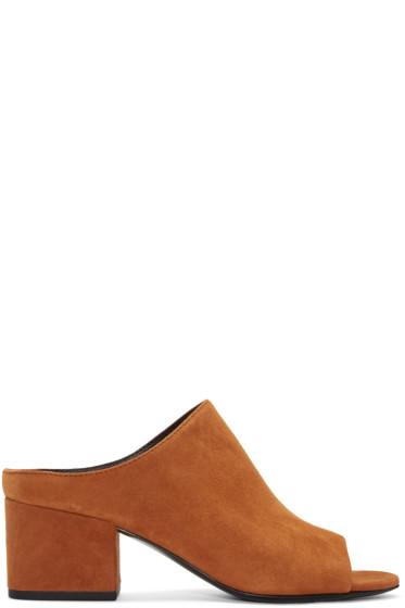 3.1 Phillip Lim - Tan Suede Cube Slip-On Sandals