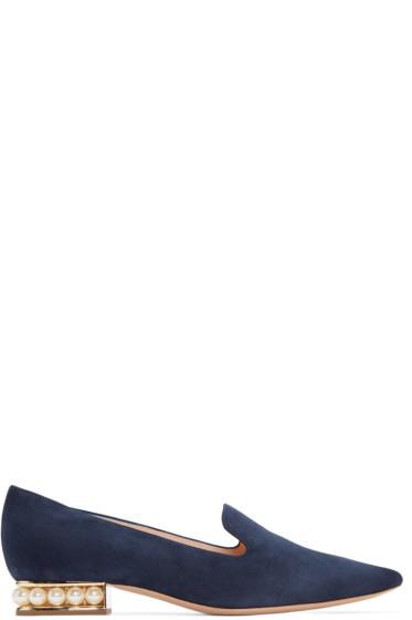 Nicholas Kirkwood - Navy Suede Casati Pearl Loafers