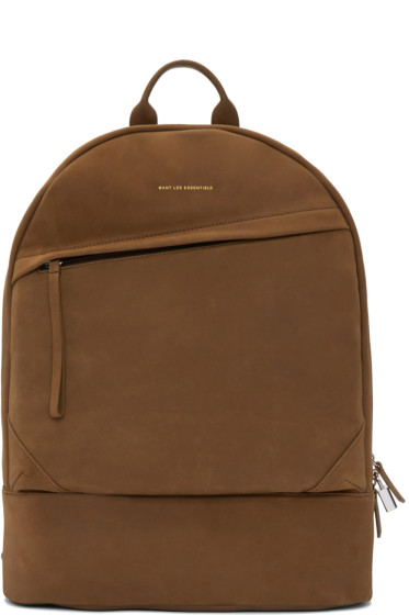Want Les Essentiels - Tan Suede Kastrup Backpack