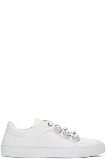 Carven - White Pearl Button Sneakers