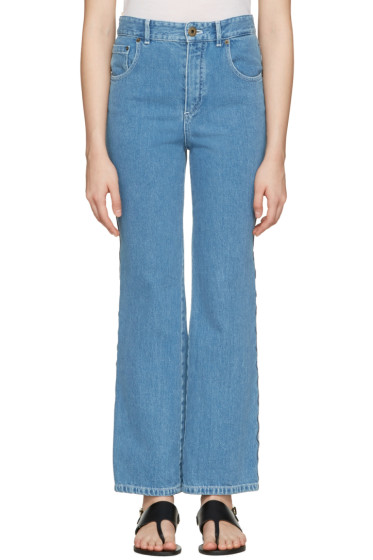 Chloé - Blue Scalloped Flared Jeans