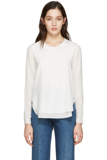 Chloé - White Scalloped Collar Blouse