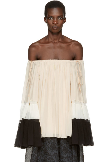 Chloé - Tricolor Silk Off-the-Shoulder Blouse