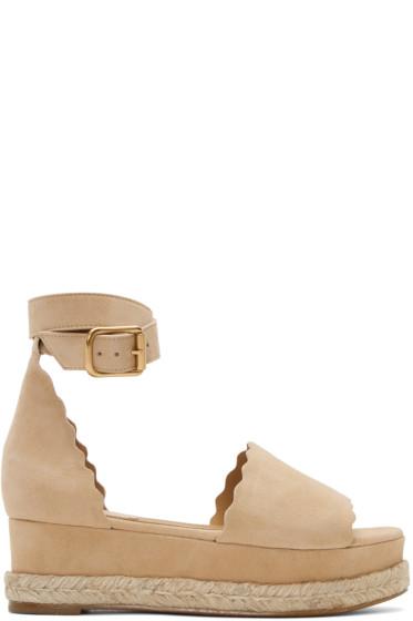 Chloé - Beige Suede Lauren Espadrille Sandals