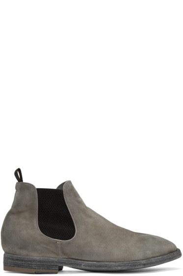 Officine Creative - Grey Suede Princeton 47 Chelsea Boots