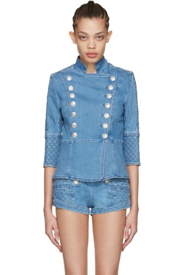 Pierre Balmain - Blue Denim Double-Breasted Jacket