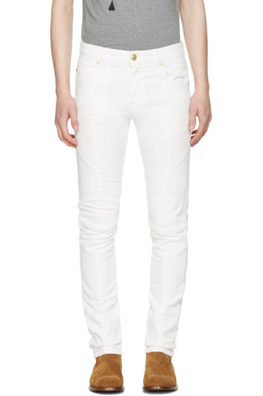 Pierre Balmain - Off-White Biker Jeans