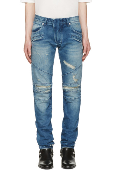 Pierre Balmain - Blue Distressed Biker Jeans