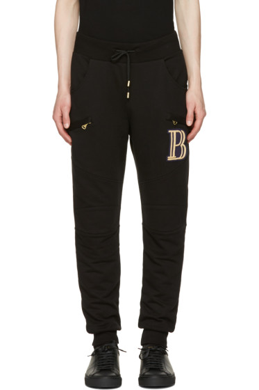 Pierre Balmain - Black Embroidered Logo Lounge Pants