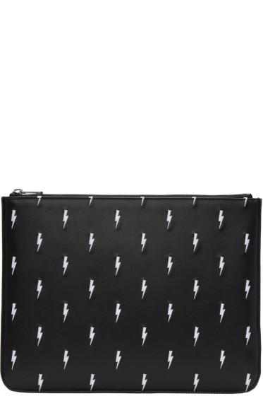 Neil Barrett - Black Embroidered Thunderbolt Zip Pouch