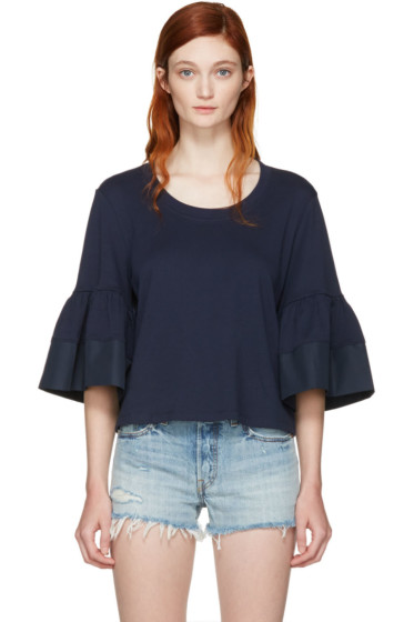 See by Chloé - Navy Bell Sleeve T-Shirt