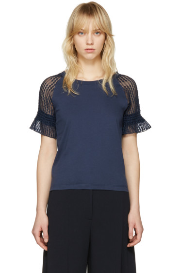 See by Chloé - Blue Lace Sleeve T-Shirt