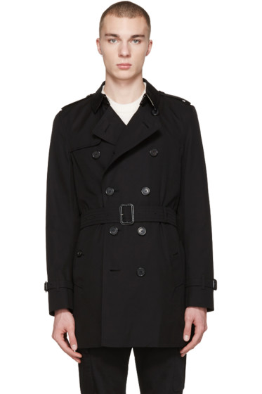 Burberry - Black Mid-Length Kensington Trench Coat