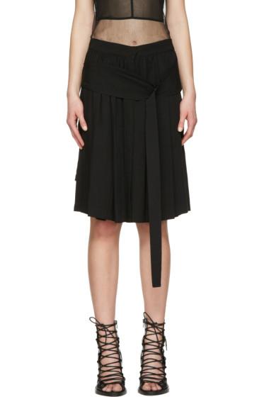 Ann Demeulemeester - Black Belted Pleated Skirt
