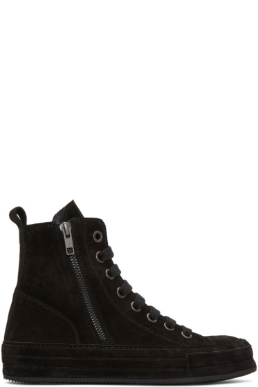 Ann Demeulemeester - Black Suede High-Top Sneakers