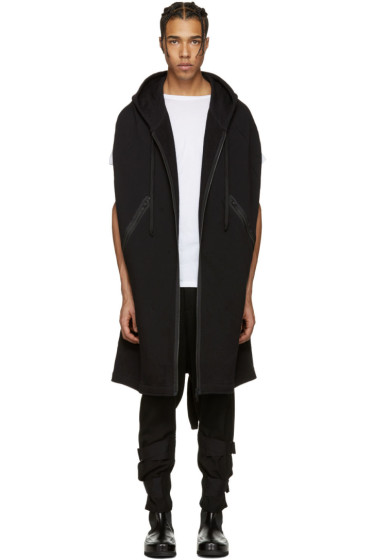 Ann Demeulemeester - Black Hooded Zip-Up Cape