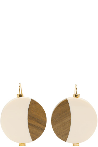 Marni - Ivory Wood Drop Earrings