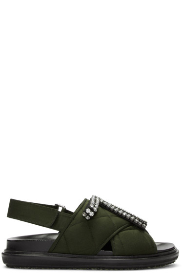 Marni - Green Embellished Quilted Fussbet Sandals
