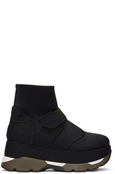 Marni - Black Velcro Platform High-Top Sneakers