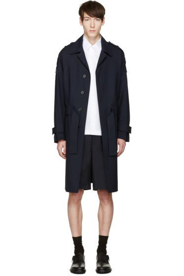Marni - Navy Multiple Straps Trench Coat