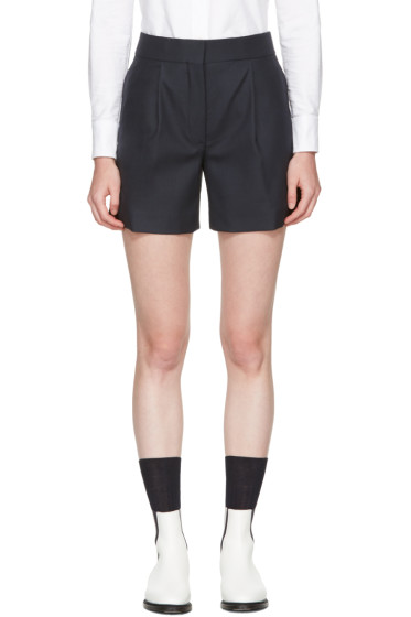 Thom Browne - Navy  Single Pleat Mini Shorts